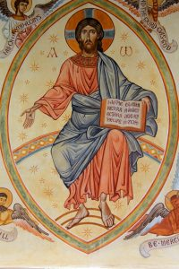 Christ in Glory. Wall painting by Aidan Hart, Church of the Holy Fathers, Shrewsbury, England